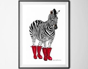 Zebra print, black white and red, zebra in wellies, zebra art print, zebra nursery decor, zebra nursery print, painting of zebra, zebra art