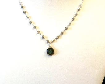 Choker necklace in 925 sterling silver with pensentif and Labradorite Rosary chain
