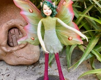 "Fae Folk® Fairies - SELTE - Garden Fairy. Bendable, posable 5"" soft doll can sit, stand, or hang."
