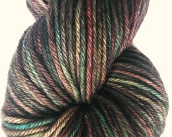 RHINEBECK DUSK, Hand Dyed DK Yarn, Soft Superwash Merino, Teal Rust Sage Yarn, Turquoise Brown Yarn, Indie Dyed Variegated