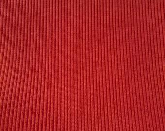 Red rib jersey fabric stretch cotton elastene spandex lycra ribbing