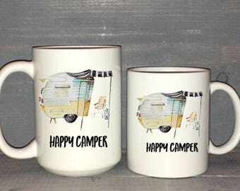 happy camper mug, happy camper, retro mug, retro camper mug, glamping, fun mug,