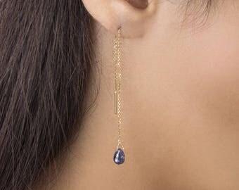 Sapphire Threaders, Sapphire Birthstone Earrings, 14K Gold Earrings, Yellow Gold, September Birthstone, Gold Chain Earrings, Sapphire Drop