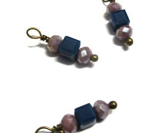 10PC. Navy and Plum Sparkle AB Austrian Crystal Bead Charms//Handmade Bead Charms// Bead Dangle Adorned with Ant. Bronze Tone Plated Accent