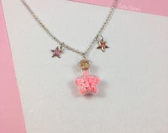 Kawaii Starry Pink Bows Bottle Pendant Necklace