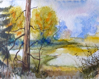 Original watercolor by the pond, * reserved P *.