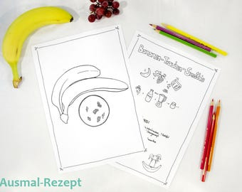 Ausmal ebook zum Ausdrucken - Malseite - Illustration zum Ausmalen - Kids kochen - Kinder Rezept - Bananen Trauben Smoothie - Fee Trixilie