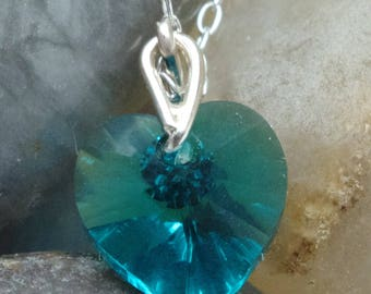 Blue Zircon Teal Green Fine Austrian Crystal Heart Pendant on Handcrafted Sterling Silver Bail with Chain Thank You Gift Bridesmaids Prom