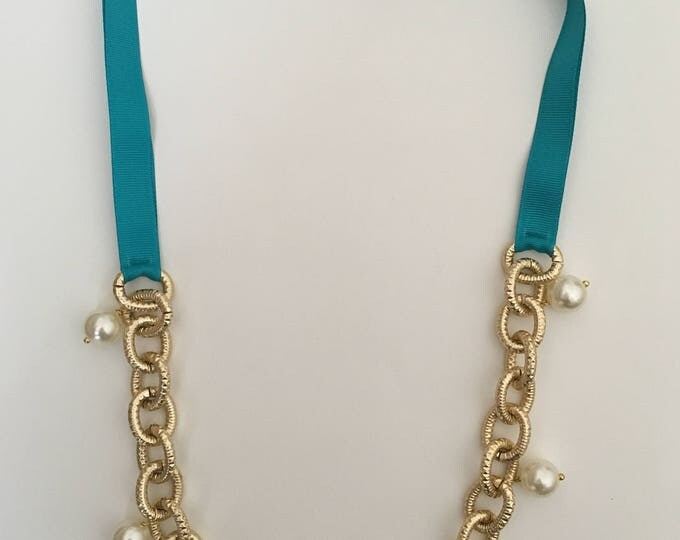 Turquoise necklace, Golden chain necklace, white beads and turquoise ribbon