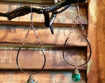 Emerald and Bronze Half Circle Earrings