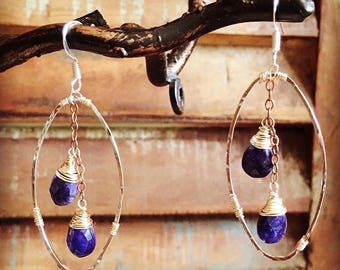 Hammered Oval and Sapphire Duo Earrings