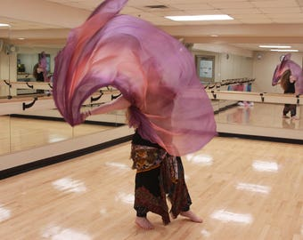 MADE TO ORDER Mysterious Mistress Purple and Peach Bellydance Veil, Bellydance Costume Veil