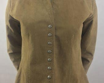 Vintage Coldwater Creek Tan Leather Shirt /Size XS