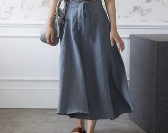 2Colors linen long wrap skirt- linen maxi skirt- Beige long skirt - long linen wrap skirt - long flared skirt