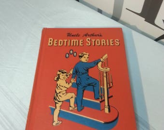 Vintage Maxwell 1950's Red Volume Three Uncle Arthur's Bedtime Stories Children's Book  FREE SHIPPING