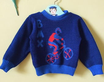 Vintage boys jumper / vintage boy sweater. 1980s. Blue  & red. BMX bicycle skate. age 18 months - age 24 months / age 2 years