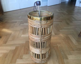 Very Cool Mid Century Brass & Rattan Bamboo Planter Or Umbrella Stand