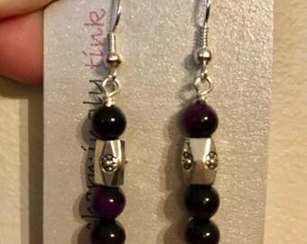 """Purple tiger eye & """"silver"""" dangle earrings (E16-055)"""