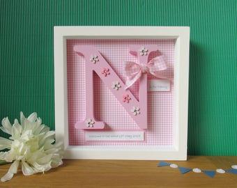 Wooden Letter Frame - First Birthday Gift - Christening Gift - Letter Frame - Baby Shower Gift - New Baby Girl Gift - Baby Girl Gift
