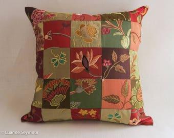 Designer throw pillow, silk pillow, up cycled silk patchwork pillow cover, boho pillow, shabby chic pillow