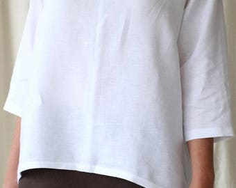 White Split Front Top in Light Weight Linen