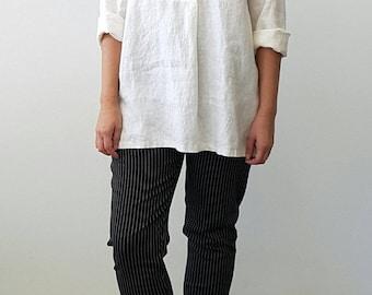 Black Pinstripe Cigarette Leg Pant