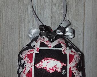 "UA University of Arkansas Razorbacks Inspired Quilted Fabric Christmas Ornament, 3"" Bulb, Christmas Gift Home Decor Christmas Decoration"