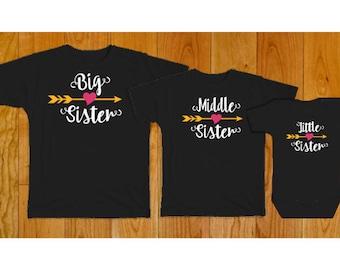 Big Middle Little Sister Matching Shirts - Matching Sister Shirts - Big Sister Middle Sister Little Sister - Black Shirts