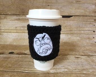 Rage Face Cup Cozy – Internet meme, gag gift, tea cozy, cup sleeve, coffee gift, geek, funny, stocking stuffer, swap gift, secret santa