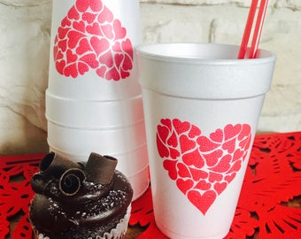 Valentine Cups, 16 Oz, Party, Styrofoam, Cocktail, Beverage, Holiday,