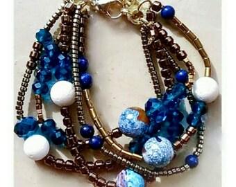 Blue bracelet for women, gemstone bracelet, jewelry gift for her, boho bracelet, Valentine gift for her, gift mom, birthday gift for sister