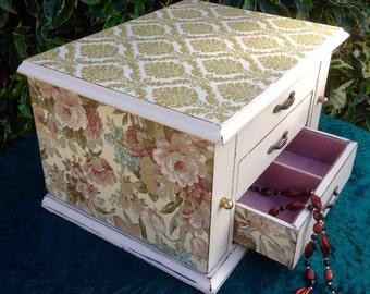 Shabby chic jewellery box, jewellery box, vintage jewellery box, cottage chic jewellery box, jewellery armoire, upcycled jewellery box,