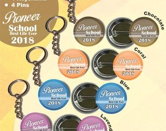 JW 2018 Pioneer School package of 8/pins and keychains/jw.org/jw pioneer gift/jw pins/jw keychains/