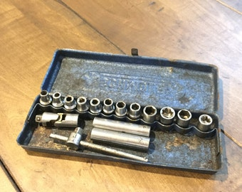Vintage 1950s Schmole tool box German - Blue Metal Box Schmole with Tools - Made in Germany