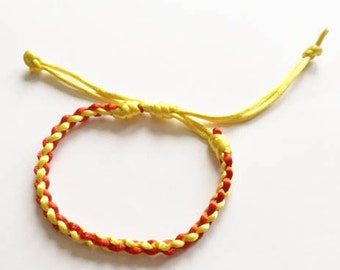 Yellow & Red Mens Womens Plaited cord bracelets