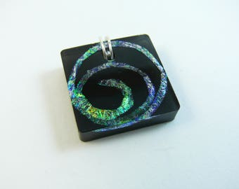 Black resin necklace with iridescent faux dichroic spiral, comes with silver plated snake chain