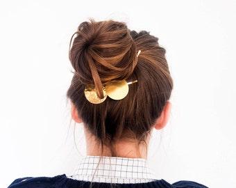 Circle hair clips - geometric hair slide - minimal barrette - bohemian hair - gold hair pin - boho clip - sister gift - gift for her -ANTILA
