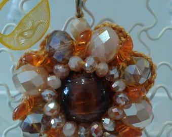 necklace orange beige hook beads /47