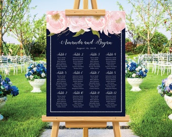 Navy blue wedding seating chart, silver glitter, blush watercolor floral, wedding seating plan, personalize wedding sign, printable