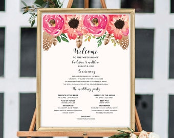 Wedding Program Sign, Ceremony Program, Wedding Program Template, Printable Wedding Sign, Boho Chic, Floral Watercolor
