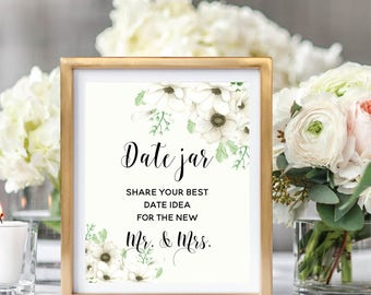 Wedding Date Jar Sign, Date Night Ideas Jar, Printable Wedding Sign,  Rustic Wedding, Floral Watercolor, Watercolor Anemone #A001