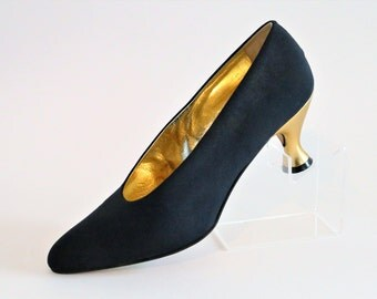 Carvela Navy Blue Satin Canvas Court Pump Shoes with Gold Heel/Size UK 5.5/Euro 38.5/Retro Shoes/1980's