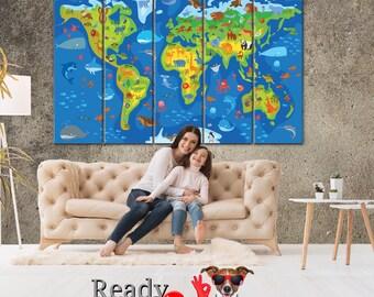 Kids World Map, Animal world map, Nursery world map, Animal World, World Map Baby, Kids world map, World map wall art, kids room decor