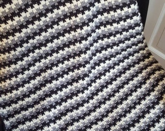 Charcoal, Light Gray and White Crochet Blanket, Crochet Baby Blanket, Lap Blanket, Wheelchair Blanket, Crib Blanket, Stroller Blanket