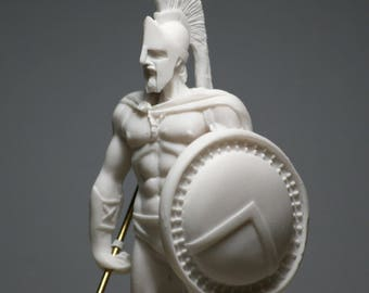 Leonidas Ancient Greek Spartan King Alabaster Statue Figurine Sculpture 6.69in - 17cm **Free Shipping & Free Tracking Number**
