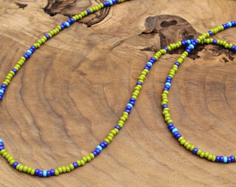 Long beaded necklace, wrap bracelet, olive green and blue, layering necklace, seed bead necklace