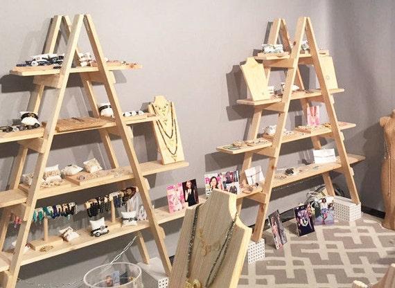 Wooden Ladder Craft Fair Display 5 Foot Ladder Shelf