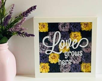 Paper Flower Wall Art - Flower Shadow Box - Spring Wall Decor - Love Grows Here - Flower Frame - Mothers Day Frame - Garden Gift Basket