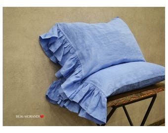 Set of 2 Pre washed 100% Dark Blue Linen pillow case with Ruffles , Euro/US Full/US Queen, US King,Flax Natural Organic