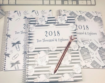 2018 Diary, Week to View, Vertical Layout Girlboss Covers, 2018 Planner